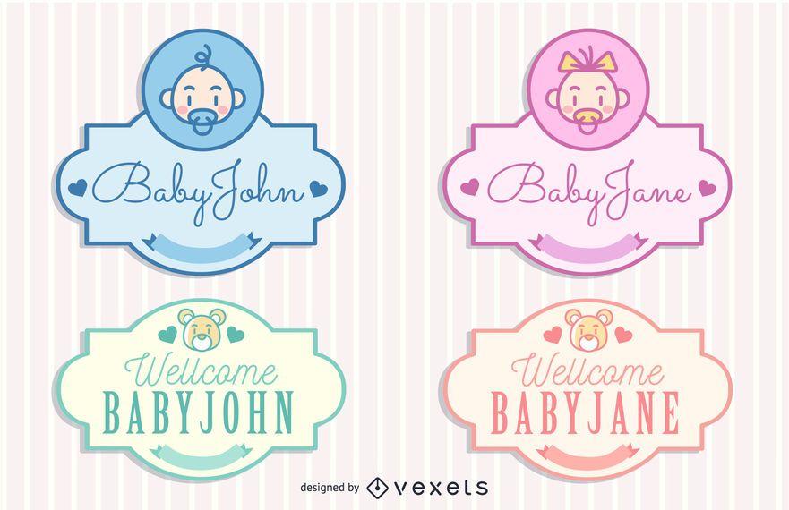 Vintage Baby Concept Labels Pack