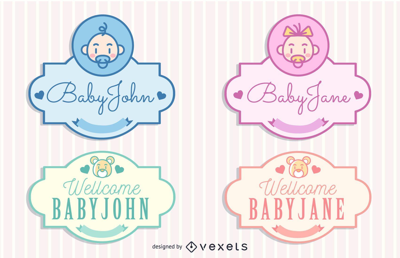 Paquete de etiquetas de concepto de bebé vintage