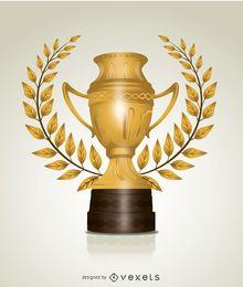 Folhas troféu dourado