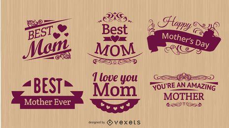 Dia da Mãe ornamentos florais tipográficos