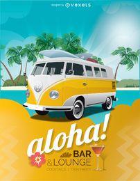 Cartel del bar vacaciones tropicales