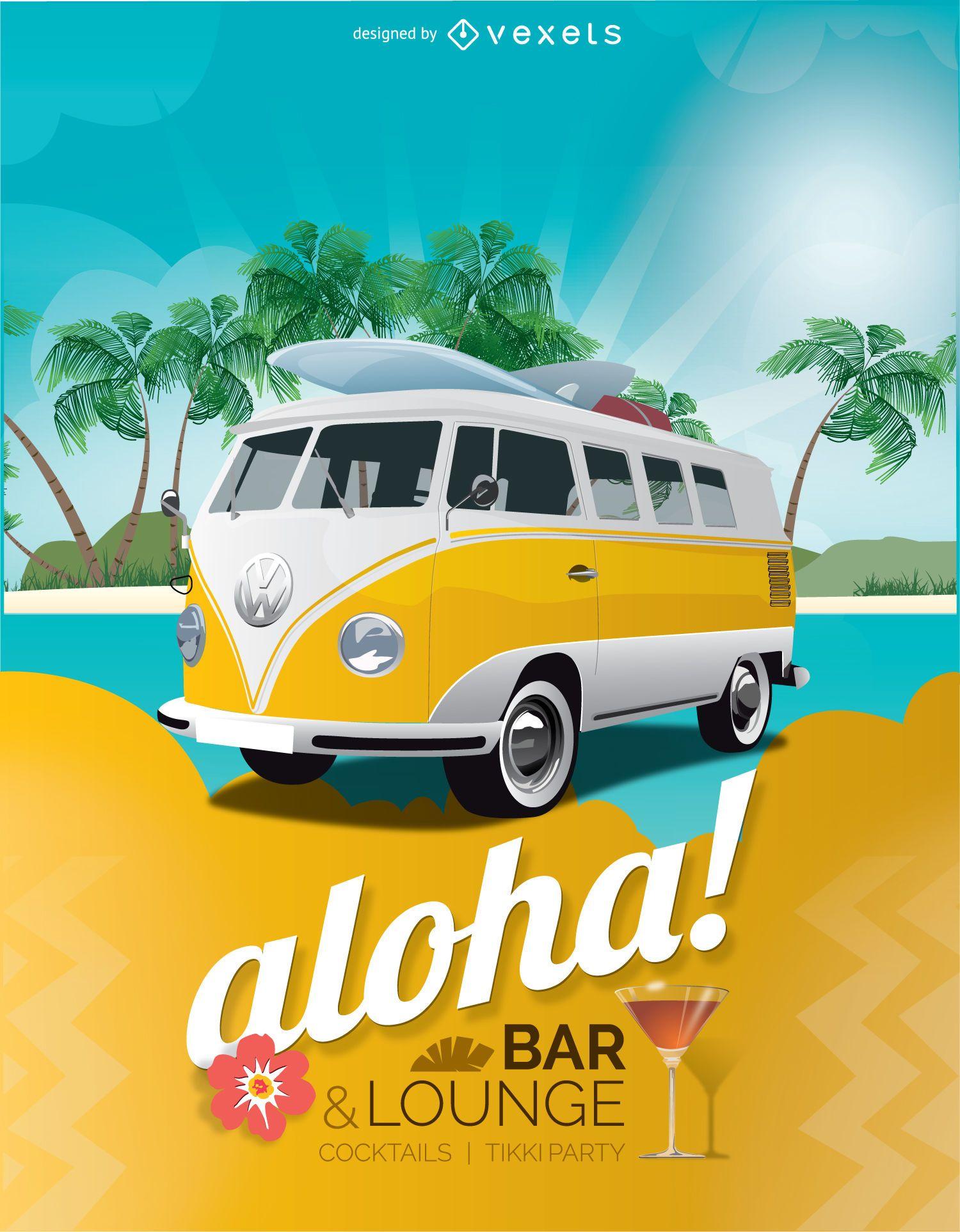 Cartel de bar de vacaciones tropicales