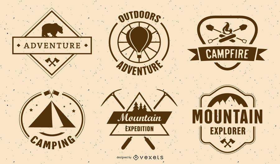 Conjunto de etiqueta de acampamento vintage