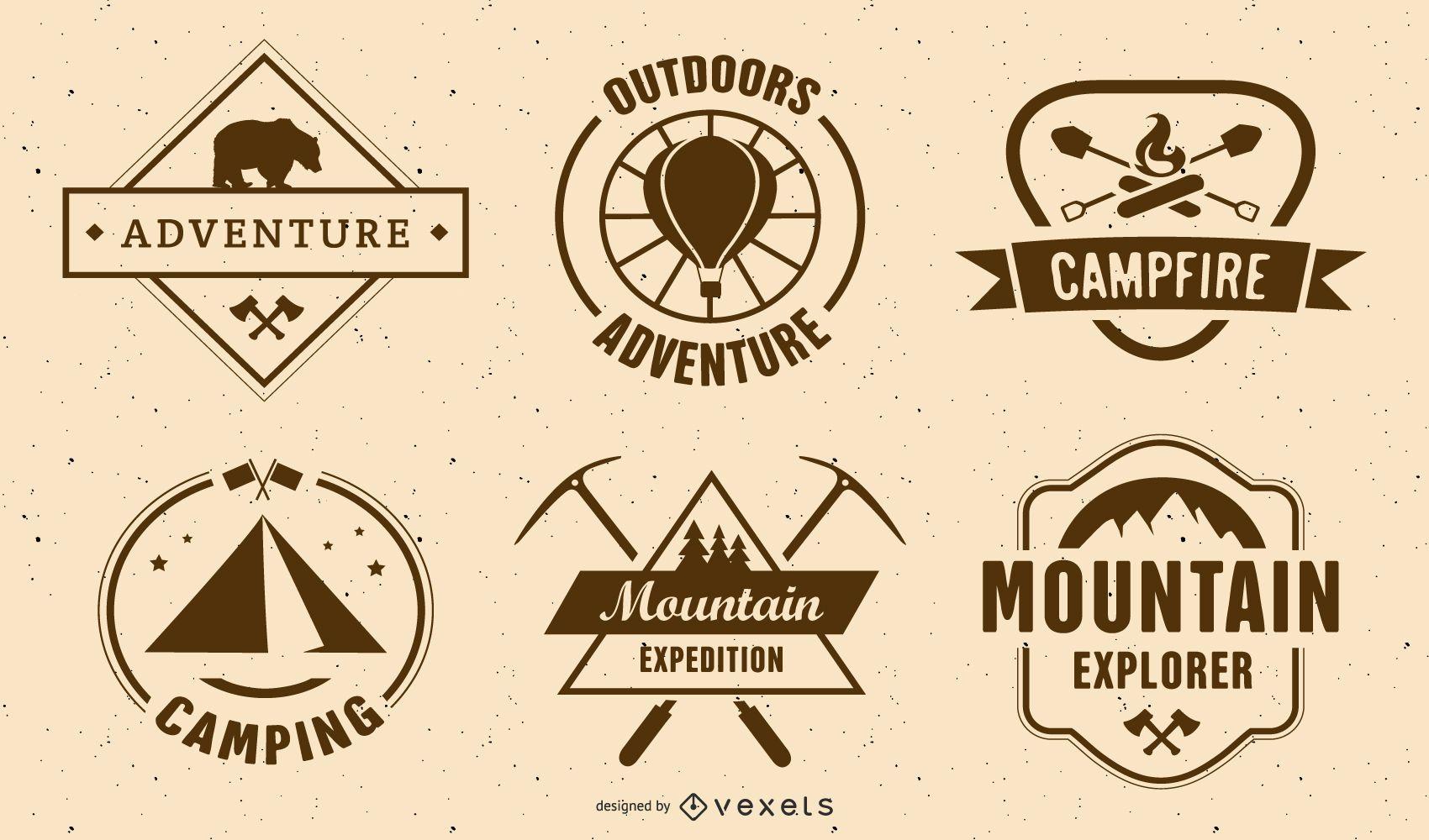 Conjunto de etiquetas de camping vintage