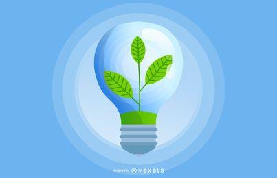 Bombilla ecológica verde