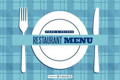 Blue Checked Restaurant Menu Cover