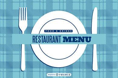Cubierta del menú del restaurante a cuadros azules