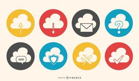 Conjunto de ícones retrô de computação em nuvem