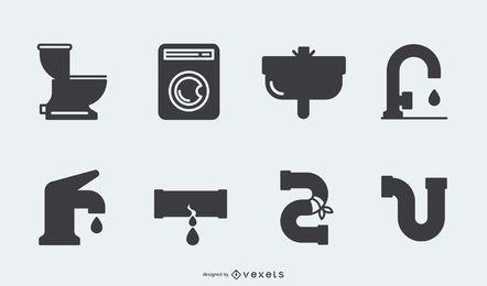 Pacote de ícone de encanamento silhueta