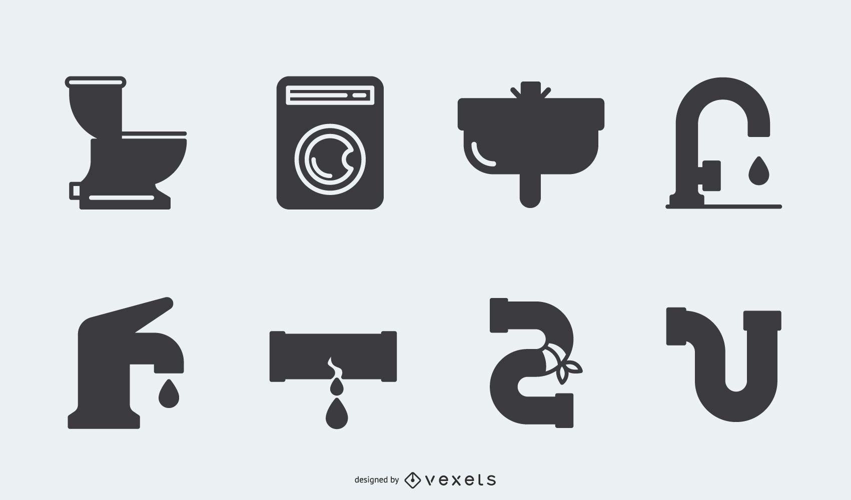 Pacote de ícones de encanamento de silhueta