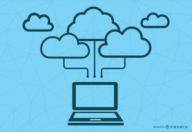 Conceito de computação de nuvem azul