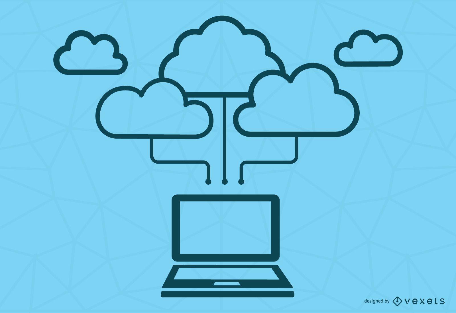 Concepto de computación en la nube azul