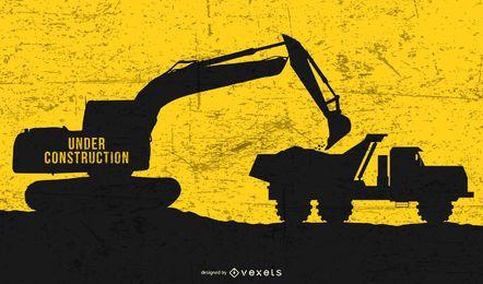 Dump Truck Excavator under Construction