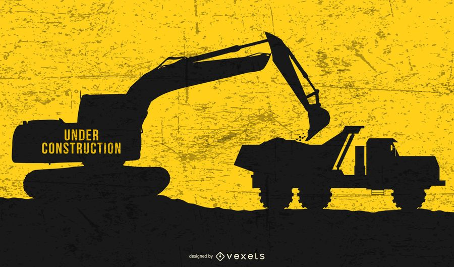 Escavadeira de caminhão de lixo em construção