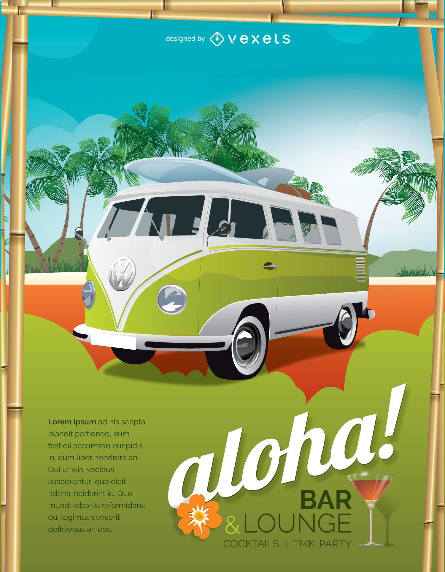Cartel local de vacaciones tropicales.