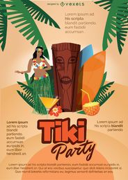 Cartel de fiesta hawaiana tiki