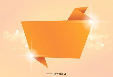 Banner de origami con fondo brillante