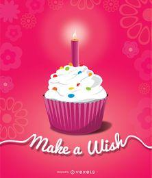 Vela de cupcake de cumpleaños