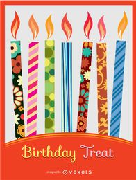 Bunte Kerzeneinladung des Geburtstages