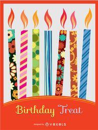 Invitación de cumpleaños velas coloridas