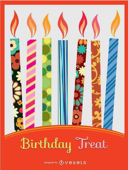 Convite colorido de velas de aniversário