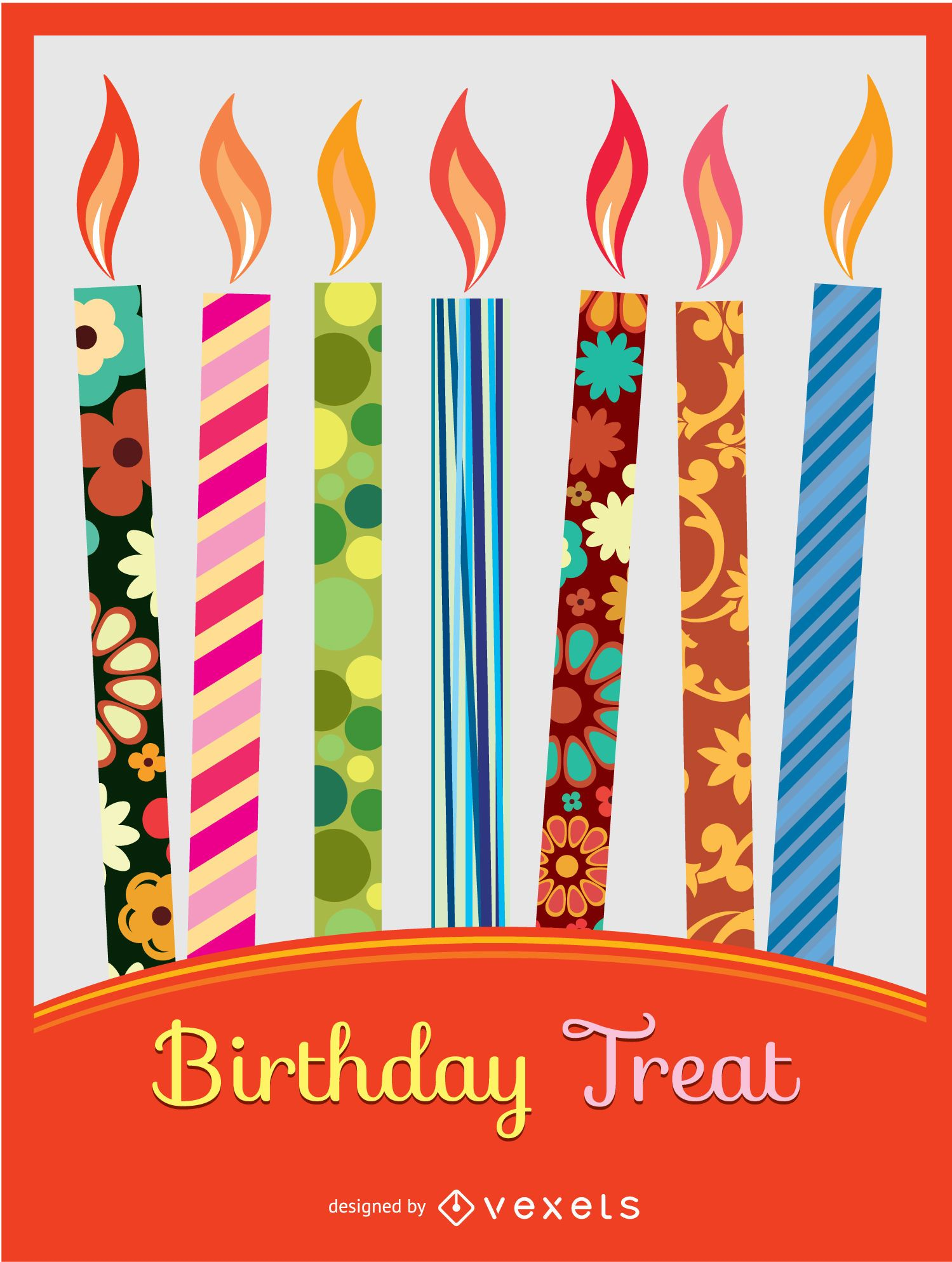 Birthday colorful candles invitation