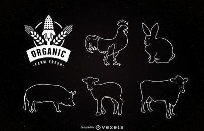 Animales de granja del trazador de líneas en pizarra