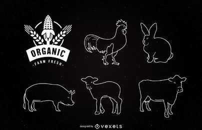 Liner Nutztiere auf Tafel