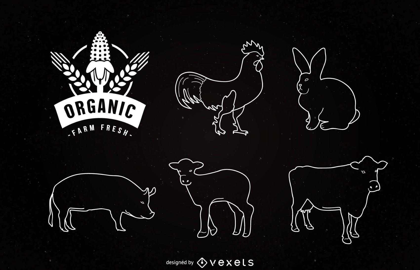 Liner Farm Animals on Chalkboard