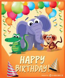 Animais selvagens de festa de aniversário