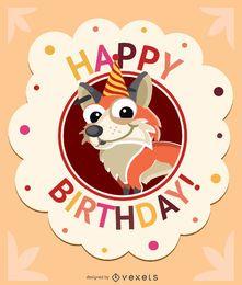 Tarjeta de cumpleaños niños zorro