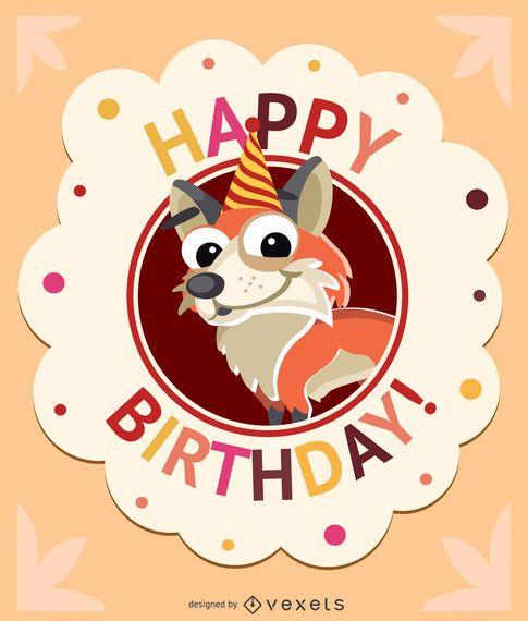 Birthday kids fox card