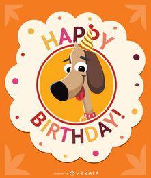 Cartão de aniversário do cão crianças