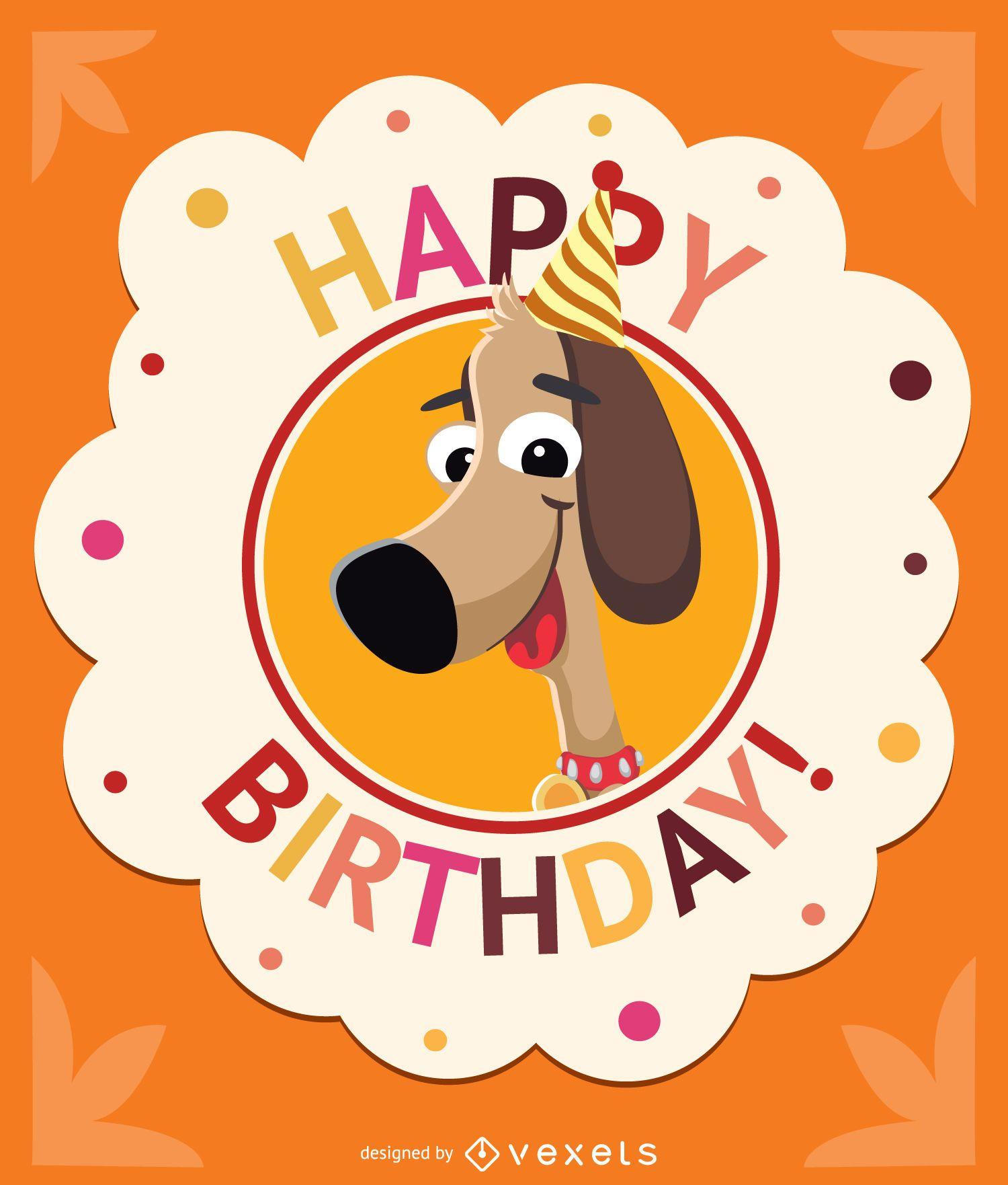Birthday children dog card