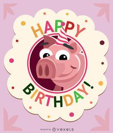 Birthday children pig card