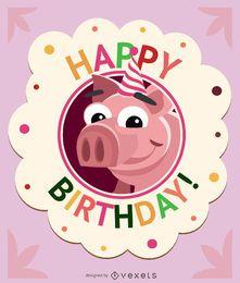 Tarjeta de cumpleaños niños cerdo