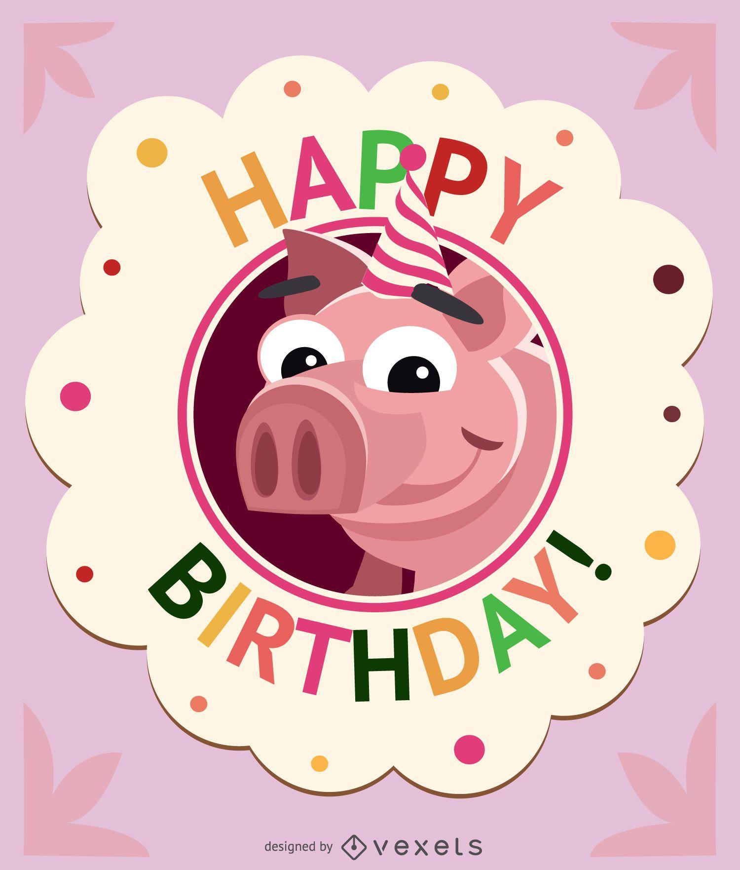 Birthday children pig card