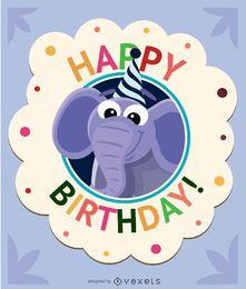 Cartão de elefante de desenhos animados de aniversário