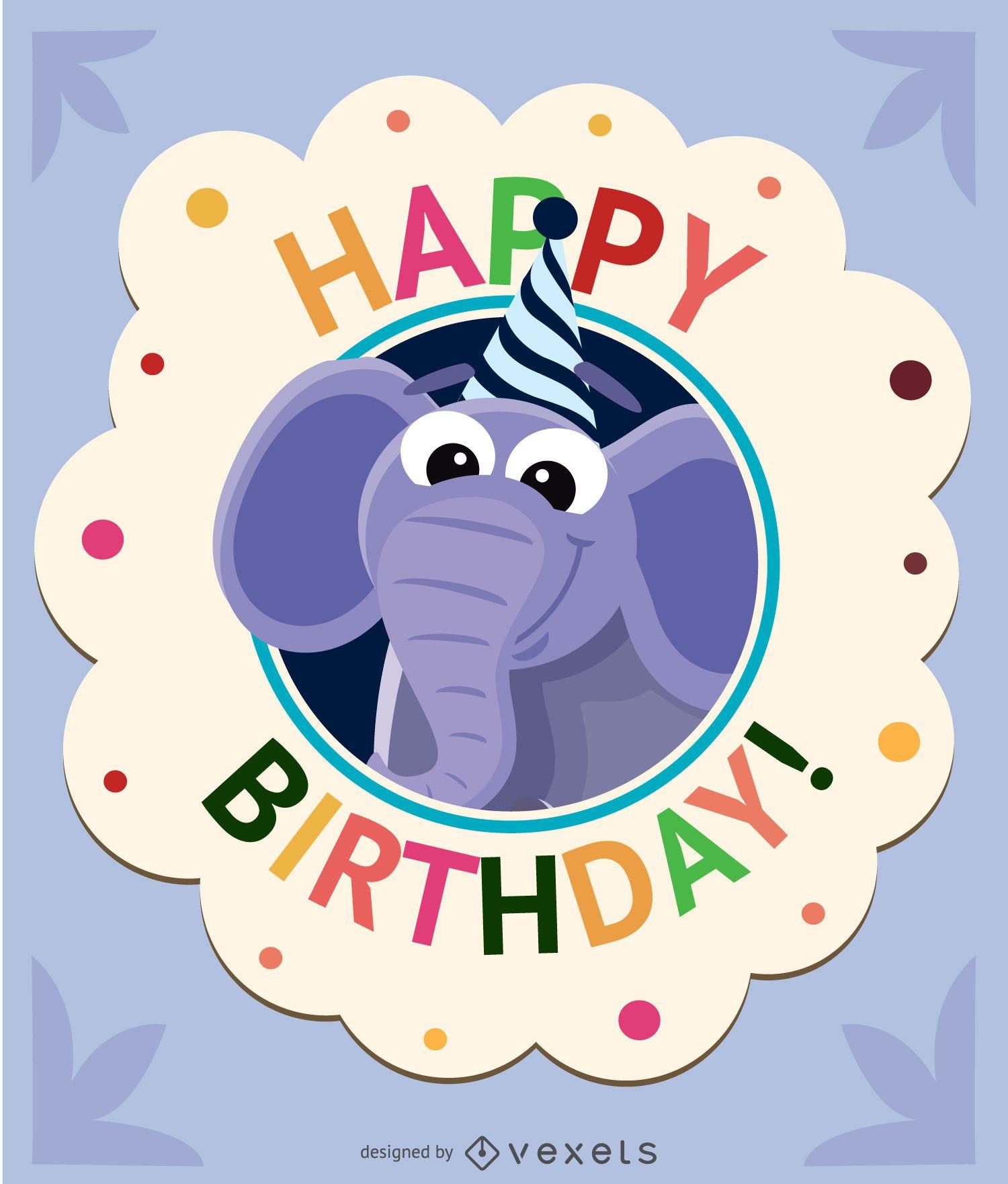 Cartão de elefante de desenho animado de aniversário