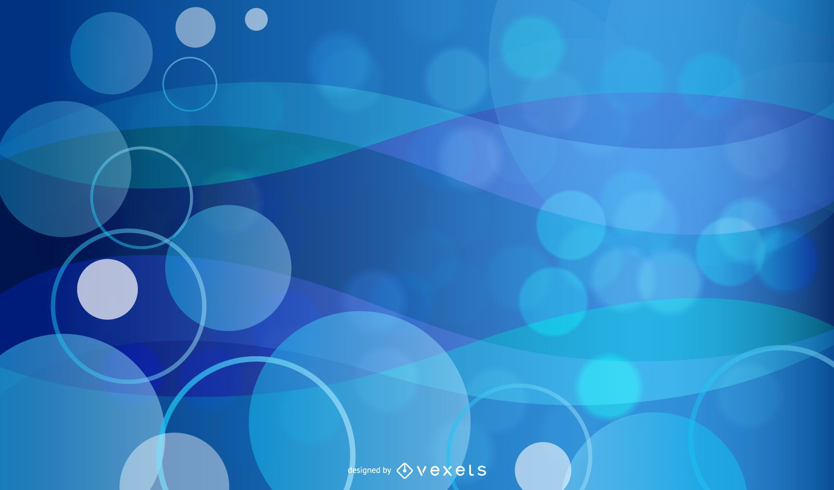 Glowing Bubbles Blue Background