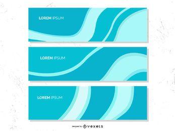 Conjunto de Banner cinza de ondas azuis