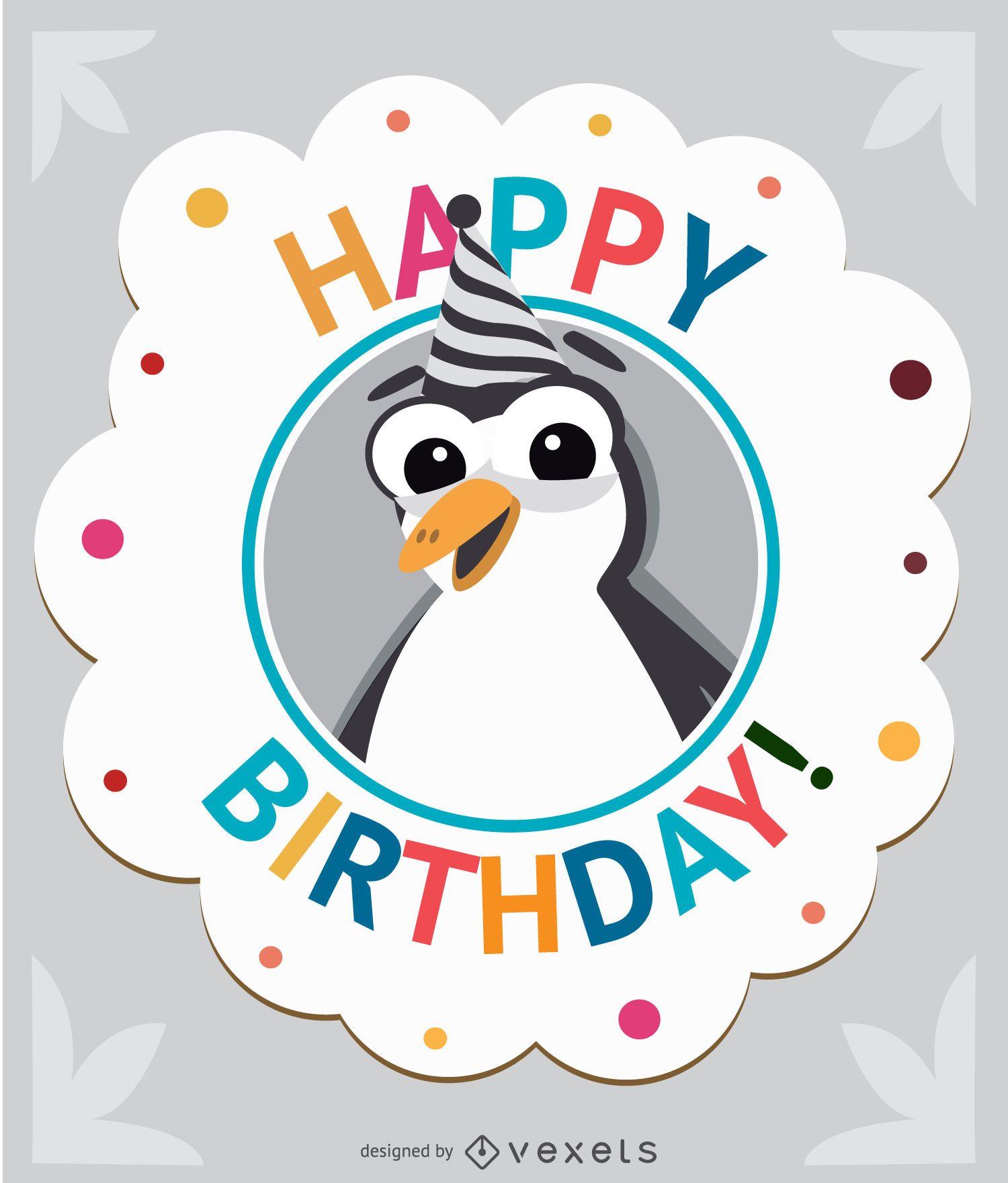 Cartão de pinguim de desenho animado de aniversário