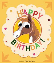 Tarjeta de cumpleaños de dibujos animados caballo