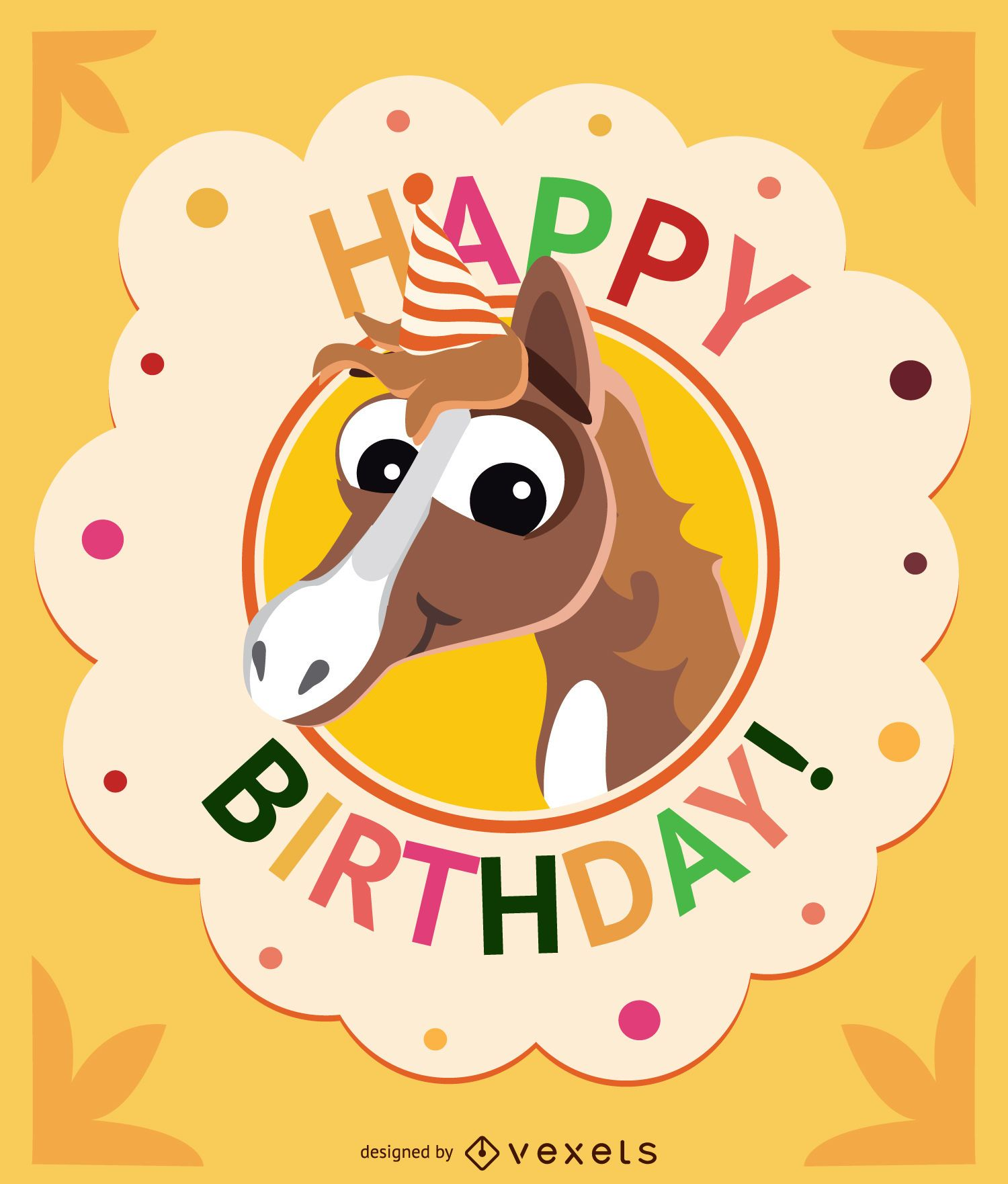 Birthday cartoon horse card