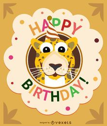 Birthday cartoon leopard card