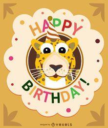 Cartão de leopardo de desenhos animados de aniversário