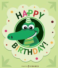 Cartão de crocodilo de desenhos animados de aniversário