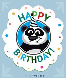 Cartão de panda de desenhos animados de aniversário