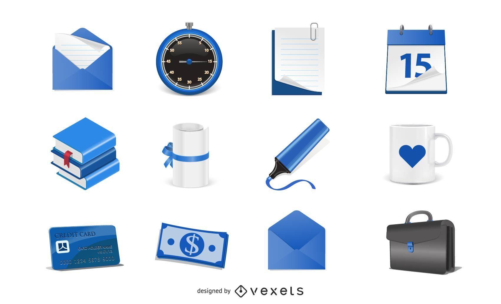 Iconos azules libres del vector