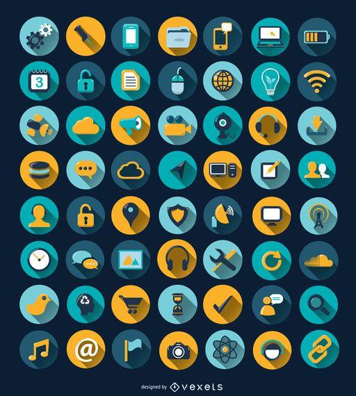 56 ícones de círculo de sombra longa de computador